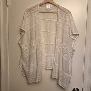 White Lace Kimono or Swimsuit Cover - One Size